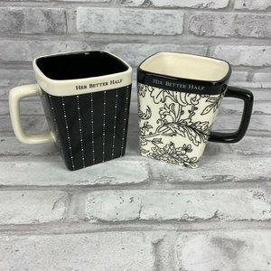 Hallmark Mugs His Hers Better Half Square Ceramic